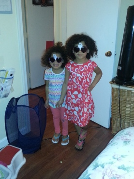 Terra and Amara modeling their new sunglasses and outfits courtesy of my sister :)